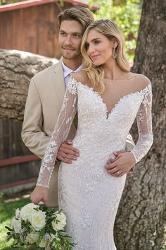 Sophisticated Embroidered Lace Wedding Dress with Illusion Neckline Bridal Wedding Dresses, Lace Wedding, Bridesmaid Dresses, Dream Wedding, Outdoor Wedding Inspiration, Wedding Ideas, Sophisticated Wedding Dresses, Illusion Neckline Wedding Dress, Jasmine Bridal