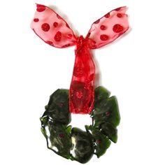 Broken Bottle Christmas Wreath, Green with Red Ribbon, Holidays Decor | ResetarGlassArt - Glass on ArtFire