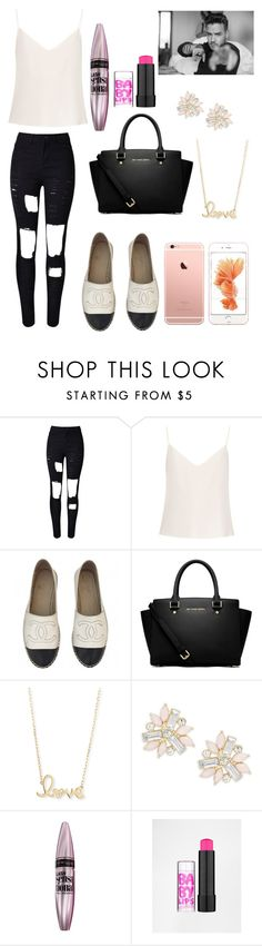 """""""Journey with your big brother ♡"""" by directioners269 ❤ liked on Polyvore featuring Raey, Chanel, MICHAEL Michael Kors, Sydney Evan, Cara and Maybelline"""