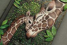 "Giraffe Journal ""Mother's Love"" by Aniko Kolesnikova (Mandarin Duck) Fantasy Book Covers, Book Cover Art, Fantasy Books, Cover Books, Giraffe For Sale, Cultural Crafts, Owl Books, Beautiful Book Covers, Weird Creatures"
