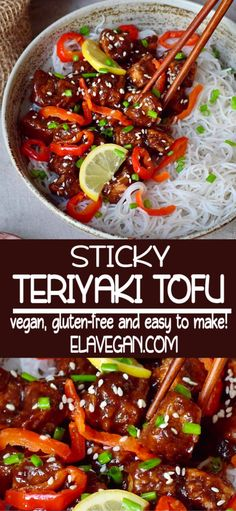 Crispy, salty, sweet and sour sticky Teriyaki Tofu with flavorful ingredients. This comforting Asian weeknight Healthy Asian Recipes, Vegan Dinner Recipes, Vegan Dinners, Veggie Recipes, Whole Food Recipes, Cooking Recipes, Vegan Tofu Recipes, Low Fat Vegetarian Recipes, Drink Recipes