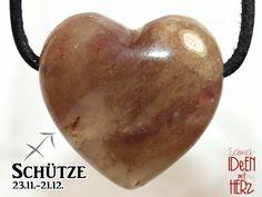 SAGITTARIUS: Aventurine quartz (heart) on leather strap / cotton cord (necklace) Stone, Etsy, Schmuck, Leather Cord, Neck Chain, Heart, Cotton, Rock, Stones
