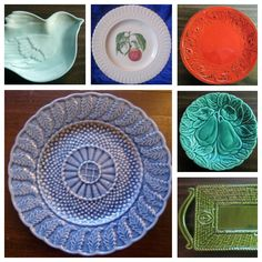 A collage of decorative dishes with interesting textures.