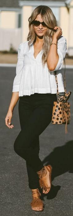 Free People top, J Brand jeans, Steve Madden sandals, Rebecca Minkoff handbag, Valentino sunnies || Cara Loren #free