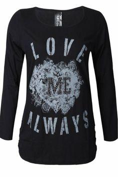Amazon.com: Yoursclothing Womens Plus Size Love Me Always Print Long Sleeve T-shirt: Clothing