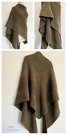 Beginner Knitting Patterns, Poncho Knitting Patterns, Shawl Patterns, Knitted Poncho, Knitted Shawls, Knitting Yarn, Free Knitting, Knitting Ideas, Knit Wrap Pattern