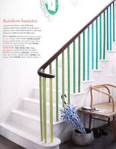 Rainbow Banister - What a fun way to freshen up a dirty/dated banister.