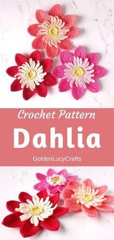 Learn how to crochet this beautiful Dahlia flower! Crochet pattern, crochet flower, applique, motif, #crochet, #crochetflower, #crochetpattern Thread Crochet, Crochet Yarn, Crochet Flowers, Crochet Jumpers, Crochet Hairband, Crochet Bouquet, Crochet Books, Crochet Granny, Crochet Crafts