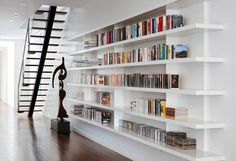 Exciting Design Ideas Of Modern Home Library. Pretty Design Home Library Ideas featuring White Wall Paint Color and White Wall Mounted Storage Bookshelves Floating Bookshelves, Modern Bookshelf, Bookshelf Design, Bookshelves Built In, Bookcases, Book Shelves, Bookshelf Ideas, Open Shelves, Library Shelves