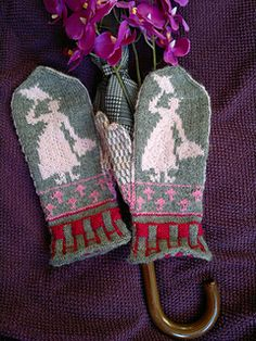 Nanny Mittens are stranded mittens showing a fairytale-like floating lady with umbrella and tote bag. Palm pattern shows umbrellas.