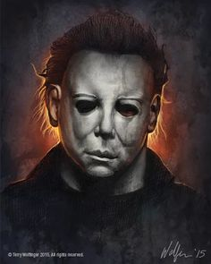 """Horror Movie Art : Halloween 1978 """"Michael Myers"""" by Terry Wolfinger Horror Posters, Horror Icons, Horror Films, Film Posters, Halloween Film, Halloween Horror, Halloween 2018, Horror Movie Tattoos, Horror Movie Characters"""