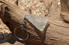 Frosted White Beach Glass Keychain