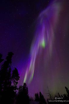 Auroral cascade taken by Kyle McMillan on April 10, 2015 near Fairbanks, Alaska, USA.