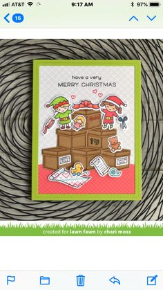 Lawn Fawn Holiday Helpers Clear Stamp Set and Coordinating Lawn Cut Die Set, Two Item Bundle Holiday Cards, Christmas Cards, Christmas Ideas, Lawn Fawn Blog, Merry Christmas Santa, Lawn Fawn Stamps, Cute Cards, Diy Cards, Handmade Cards