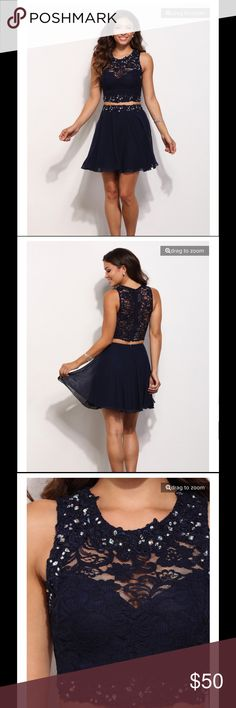 Misty Navy North Star 2 Piece Crop Top Party Dress Look to the brightest star and you'll never know what you'll find.  This Windsor Misty 2 piece features a lace crop top with a round neckline with a sweetheart lining, large scattered gems around the neckline and hemline, and a sheer back with an exposed back zipper.  Its matching chiffon mini skirt is high waisted with the same lace and gems around the waistband.  Never worn, purchased for my daughter and she decided to wear a different…