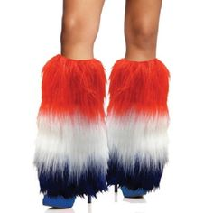 Privateislandparty.com - Furry Leg Warmers Patriotic USA Red White & Blue 6758 $12.99 Want to show your American patriotism? A perfect fashion accessory for showing off your patriotic pride. You'll be the envy of your friends in these stylish accessories! Our USA Patriotic Furry Leg Warmers fit comfortably over shoes or boots to the knee secured by ribbed elastic to keep your legs warm and your style hot! Each piece on insert card.