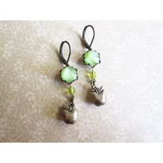 Apple Green Earrings Vintage Rhinestone Jewelry Mori Girl Fall Fashion (€25) via Polyvore featuring jewelry e earrings