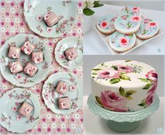 floral party cakes and cookies