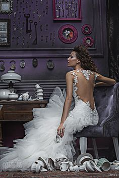 olvis 2017 couture bridal thin strap deep plunging sweetheart neckline heavily embellished bodice ruffled skirt sexy princess mermaid wedding dress keyhole back sweep train (2327) bv #bridal #wedding #weddingdress #weddinggown #bridalgown #dreamgown #dreamdress #engaged #inspiration #bridalinspiration #weddinginspiration #weddingdresses