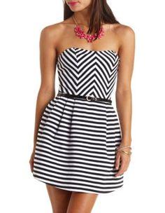 striped & belted strapless skater dress