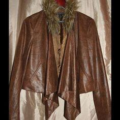 INC open drape jacket Open drape jacket with faux fur collar, Boho hippie style...really nice INC International Concepts Jackets & Coats