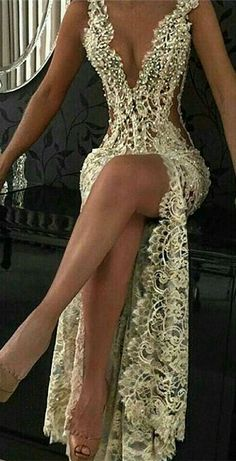 Sexy Lace Evening Gowns 2019 Sleeveless Beading Split Popular Prom Dresses, Shop plus-sized prom dresses for curvy figures and plus-size party dresses. Ball gowns for prom in plus sizes and short plus-sized prom dresses for Stunning Dresses, Beautiful Gowns, Elegant Dresses, Sexy Dresses, Fashion Dresses, Sexy Gown, Formal Dresses, Summer Dresses, Gold Lace Dresses
