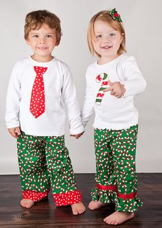 Brother/Sister Christmas Elf & Tie Applique T-shirt or Onesie Set ...