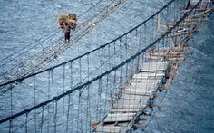 23 of the most dangerous bridges in the world . # 14 is frankly ATERRADOR Scary Bridges, Rope Bridge, Dangerous Roads, Mackinac Bridge, Fear Of Flying, Forest Floor, Suspension Bridge, Travel And Leisure
