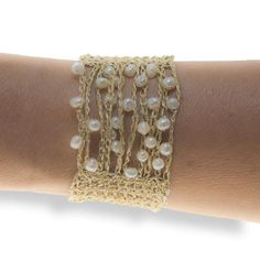 Handmade Gold Plated Knitted Crochet Bracelet with Freshwater Pearls - Anthos Crafts - 1