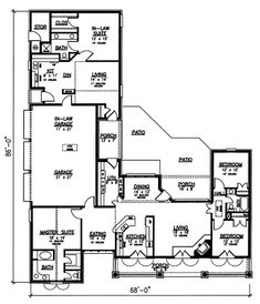 House Plan 98366 offers 2400 square feet of living space which includes 2master bedrooms, 2 children's bedrooms and 3 full bathrooms.The 2nd master bedroom is part ofthe privatemother-in-law suite in the rear of the house.  The home's exterior is Southwestern Style with a combination of brick and stucco siding. Across the front porch we