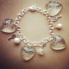 Silver Lace Resin Hearts, Pearls, Skeleton Key Bracelet, Charm Bracelet, Bohemian Bracelet, Resin Charms, Delicate Bracelet, OOAK