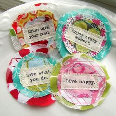 Fabric Flower Embellishments, Flower Appliques, Scrapbook Flowers,  Scrapbook Words,  Inspiration Word Flowers -  Set of 4 - No. 751. $5.25, via Etsy.