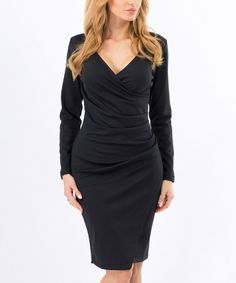 Look at this Black Ruched Wrap Dress on #zulily today!