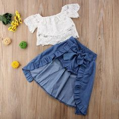 Check out my new Toddler Girl's Chic Lace Top Ruffled Denim Skirt and Shorts Set, snagged at a crazy discounted price with the PatPat app. Little Girl Dresses, Girls Dresses, Kids Outfits, Cute Outfits, Party Outfits, White Crochet Top, Hi Low Skirts, Matching Family Outfits, Baby Outfits Newborn