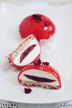 desserts with cherry cupole mousse Cherry Desserts, Fancy Desserts, Mousse Dessert, Mousse Cake, Striped Cake, Romanian Food, Square Cakes, Just Cakes, Specialty Cakes