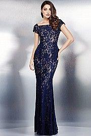 Navy Cap Sleeve Lace Dress 36920