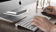 The iMac shelf hovers tactfully beneath your screen, providing a floating storage space for your smartphone, external hard drive or more.