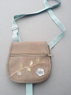 Haiku Bag Purse Small Travel Cross Body Brown w/ Blue Strap Decorative Design #Haiku #GrabBag