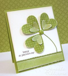 """Heart shamrock.  Would make a great """"Good Luck"""" in your future endeavors card for a graduate."""