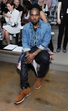 #kanyewest wearing #visvim #sneakers @ #nyfw