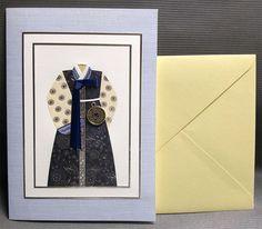 Korean Traditional Designed Card - Korean Traditional Cloth Hanbok 2 by lovingpaper on Etsy