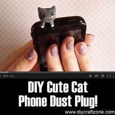 DIY Cute Cat Phone Dust Plug! ►►  http://www.diycraftzone.com/diy-cute-cat-phone-dust-plug/?i=p