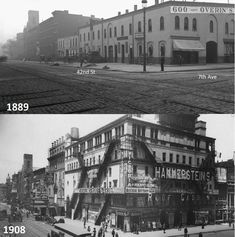 A Times Square then and now. 42nd Street, the 'dead horse' shot looking west on the top . We say the area had horse stables in the LongAcre Square era, but in photos it appears not to have had much else. You can see that by the 1908 photo the stables have been replaced with the Hammerstein Vitoria theater, and the most famous crossroads in the world has already experienced great change in just 20 years and is already establishing itself as a busy theater section.