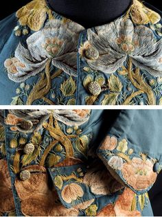 Detail of embroidery to neckline (top) and pocket, cuff and front of an early to mid 18th Century waistcoat of silk and linen with polychrome silk stitching and covered wire buttons. Carlotta Museum