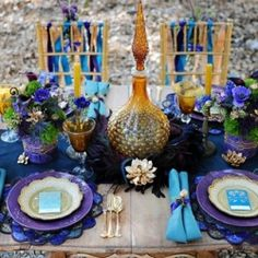 Egyptian Inspired Bridal Shoot - Boho Weddings For the Boho Luxe Bride Wedding Table Decorations, Wedding Table Settings, Decoration Table, Place Settings, Ramadan Decorations, Egyptian Wedding, Egyptian Party, Chic Wedding, Trendy Wedding