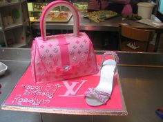 Louis Vuitton Handbag & stiletto cake in shades of pink & silver by Charly's Bakery, via Flickr