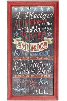 Share your pride with Pier 1's Americana Chalkboard Sign. Framed in red, this vintage-inspired painted wooden sign contains the words to the Pledge of Allegiance to make a beautiful addition to your patriotic decor.
