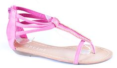 Sandale fara toc - Sandale dama cu accesoriu auriu JX4- Fucsia - Zibra