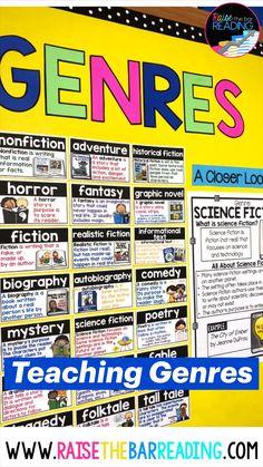 Teaching Genre, Teaching 5th Grade, 5th Grade Classroom, Middle School Classroom, Middle School Libraries, Elementary School Library, Middle School Reading, Classroom Libraries, 8th Grade Ela