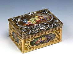 1760  Made by Jean Ducrollay  France  Gold, silver, enamel, cut diamonds and emeralds; chased, pounced, engraved and painted